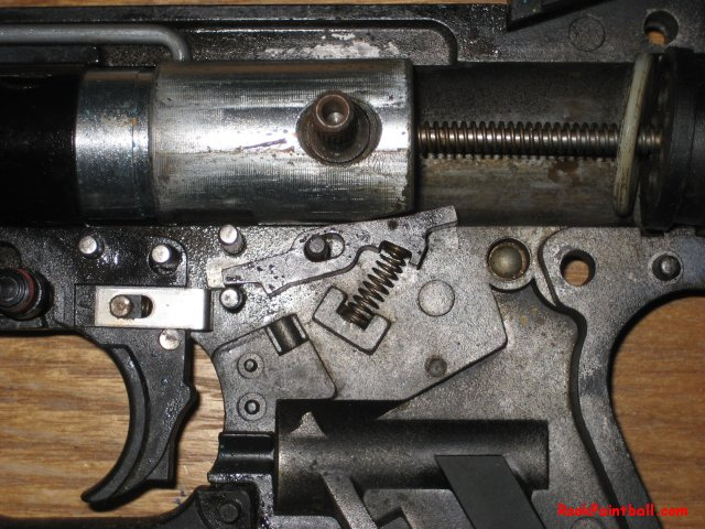 The trigger system of a Tippmann 98 Custom