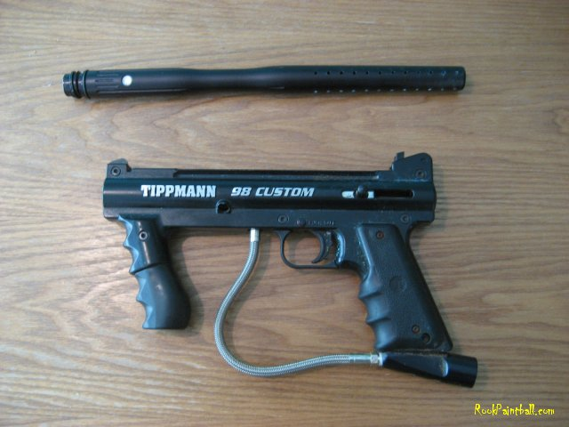 Here is my Tippmann 98 Custom with a Small Parts Linear barrel: